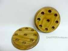 Two Vintage Round Wooden Thimble Holders