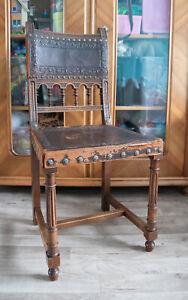 Gründerzeit Stuhl Antik - Leder geprägt - Nussbaum - um 1890