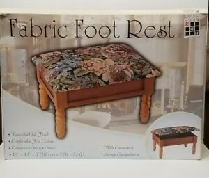 """Queen Anne Style Fabric Footstool w/ Storage Compartment  15"""" x 11"""" x 9"""""""