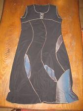 Robe longue sans manches - légère - forme boule - noire bleu et doré - T3