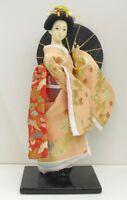 Japanese beautiful doll Geisha Pink Kimono Bangasa Umbrella from japan