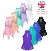 UK Kids Girls Lyrical Ballet Dance Dress Contemporary Costume Ballroom Dancewear