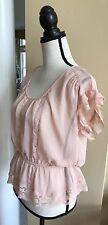 Princess VERA WANG Peachy Pink Short Sleeve Sheer Lace Peplum Blouse ~ S