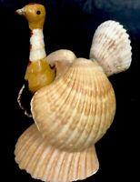 Sea Shell Turkey Vintage Folk Art Handmade Thanksgiving decor