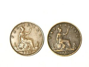 2 x Victoria Farthing Coins 1875 H + 1885 Research Study Varieties L@@K   #SP38