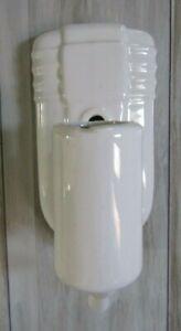 Vintage Art Deco White Porcelain Pull Chain Wall Sconce Bathroom Light Fixture