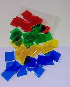 Square Area Plastic Counters- 25mm- Pack 60 -15 of red, blue, yellow and green.