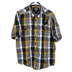 Harley Davidson Motorclothes Button Shirt Large Yellow Gray Black Check Leather