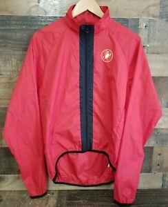 Castelli Longsleeve Windbreaker Zip Up Red Cycling Jacket Size L