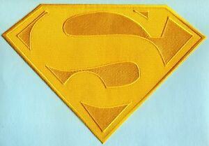 """7.5"""" x 11.2"""" Embroidered Dean Cain style Superman All Yellow Cape Logo Patch"""