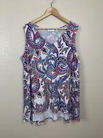Susan Graver Womens 1X Paisley Printed Liquid Knit Sleeveless Top Peplum Back