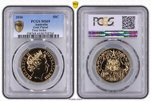 2016 Round 50c Gold Plated Coin PCGS Slabbed First Strike MS69 Top Grade