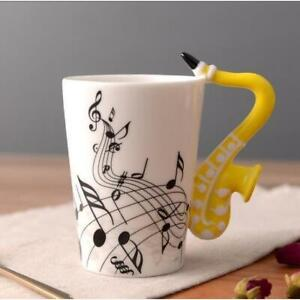Music Themed Mug with Saxophone Handle