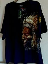 T SHIRT GLOW IN THE DARK NATIVE AMERICAN INDIAN & WOLVES SIZE XXXL