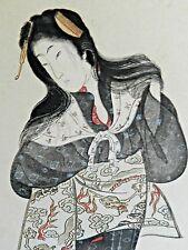 1800's JAPANESE WOOD CUT PRINT*GEISHA GIRL*RARE ESTATE FIND*REMARKABLE COND.*