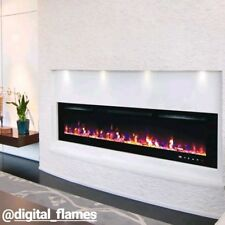 50 INCH LED 'DIGITAL FLAMES' WHITE BLACK GLASS WALL MOUNTED ELECTRIC FIRE 2019