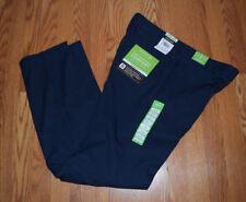 NWT Mens HAGGAR Navy Straight Performance Comfort Casual Pants 34 X 32
