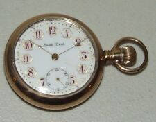 Antique Working 1904 SOUTH BEND 17J Gold G.F. Pocket Watch 18s w/ Fancy Dial 340