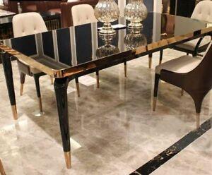 Desigern Dining Table Luxury Gold Black Glass Gloss Modern Metal New Immediate