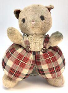 "Vintage GUND Teddy Bear In Plaid Pants 1960'S 12 1/2"" NYC - Well Loved"