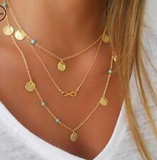 Fashion simple good luck Infinity metal turquoise bead necklace multilayer chain