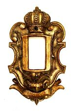 Single Rocker Switch Plate Cover Crown Design Ornate Gold Polychrome Brown