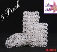 Spiral Coil Wire Hair Bands/Bobbles - 5 Pack - Clear - Stretchy & Tangle Free
