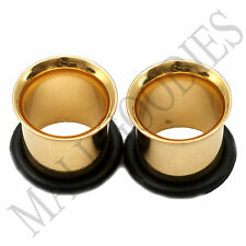 0854 Gold Single Flare Flesh Tunnels Earlets Big Gauges 00G Plugs 10mm 1 PAIR