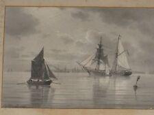 1894 CARL ERIK BAAGOE (1829-1902) IMPORTANT MARINE DRAWING PAINTING ON PAPER
