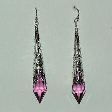 lungo viola stile vittoriano orecchini argento placcato FILIGRANA acrilico 7cm