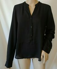 NWT Frenchi Long Sleeve Top Jrs Large Sheer Black Button Front Hi-Lo Hem