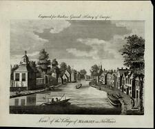 Maarsen Holland Village Canal Gondolas Houses Quaint fine ca. 1790 antique view