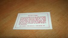 1959 1960 Edsel Auto Trans Glove Box Instructions Decal