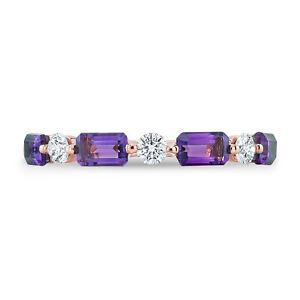 Amethyst Diamond Ring 14K Rose Gold Alternating Emerald Round Cut Band Natural