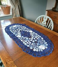 Vintage Blue Crochet Embroidery Doilly Table RunnerTableMat