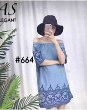 664 Off -Shoulder Soft Denim Mini Dress
