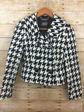 White House Black Market WHBM Houndstooth Plaid Lined Jacket Coat Women's 00