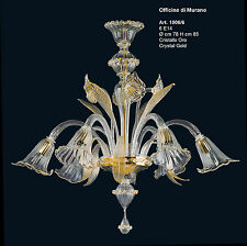 Chandelier glass murano -1006/6 Crystal Gold - Mount gold 24k