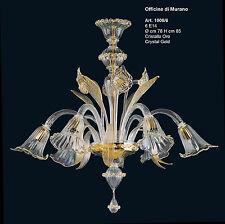 Lampadario in Vetro di murano -1006/6 Cristallo Oro - Montatura Oro 24k