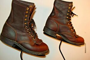 PD TRUFF Brown Oiled Western Cowboy Boots Ropers Big Kid's Size 5.5M Excellent