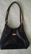Mondani Classic Black Shoulder Satchel Bag w/Brown Straps