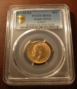 South Africa 1928 SA Gold Sovereign PCGS MS63 George V