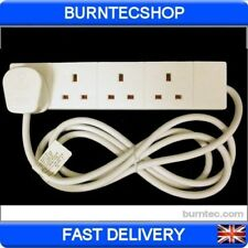 4 Way Mains Extension Lead 1 2 3 5 10 & 20 Metre Plug Socket Gang White electric