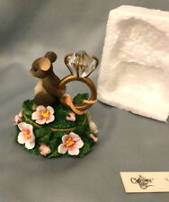 Charming Tails Love Expression Lidded Box Mouse with Diamond Ring Trinket Griff