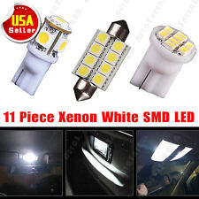 11 White LED interior lights package T10 42mm 578 Dome Map + license plate lamp