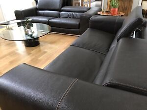 """Roche Bobois brown leather sofa w/adjustable headrests - $4,500 ea L92""""D40""""H24"""""""