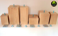 New 4x Oak Wooden Furniture Legs For Sofas, Stools, Cabinets FREE SCREWS T NUTS