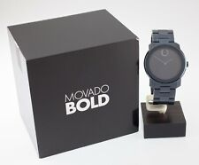 Movado Bold Unisex Quartz Navy Blue Watch w/ Box & Papers 3600047