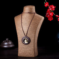 Women Ethnic Bird Hollow Wooden Circle Pendant Long Sweater Chain Necklace MA