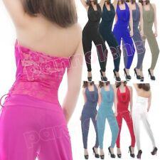 Overall tuta intera jumpsuit donna tutina pizzo floreale scollo cascata AS-9303